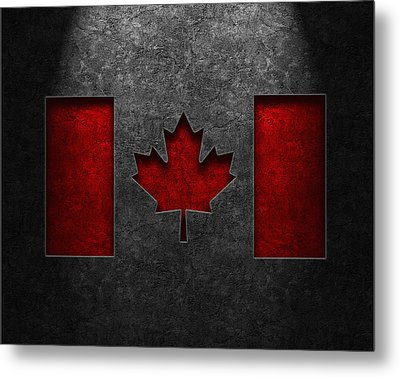 Canadian Flag Stone Texture Metal Print by Brian Carson
