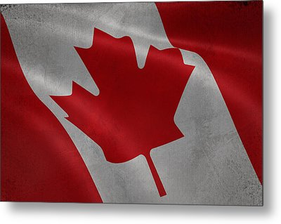 Canadian Flag Waving Aged Canvas Metal Print by Eti Reid