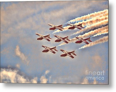 Metal Print featuring the photograph Canadian Forces Snowbirds 2013 Upside Down Formation by Cathy  Beharriell