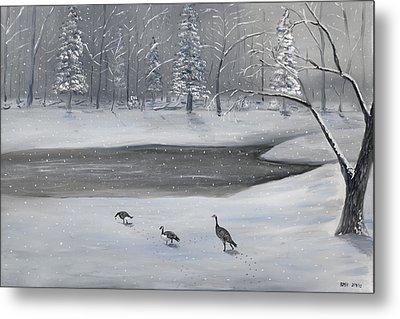 Canadian Geese In Winter Metal Print by Brandon Hebb