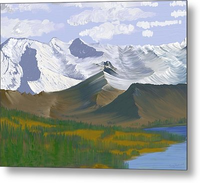 Metal Print featuring the digital art Canadian Rockies by Terry Frederick