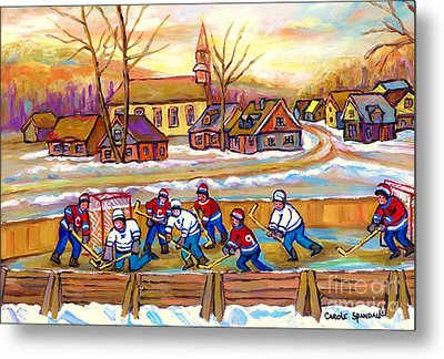 Canadian Village Scene Hockey Game Quebec Winter Landscape Outdoor Hockey Carole Spandau Metal Print