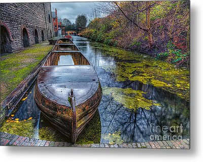 Canal Boat Metal Print by Adrian Evans