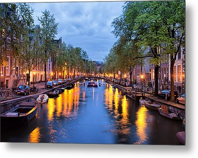 Canal In Amsterdam At Dusk Metal Print by Artur Bogacki