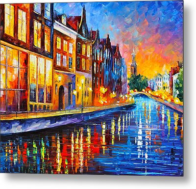 Canal In Amsterdam Metal Print by Leonid Afremov