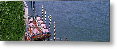 Canal Side Cafe Venice Italy Metal Print by Panoramic Images