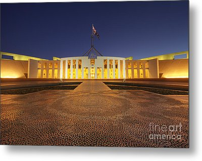 Canberra Australia Parliament House Twilight Metal Print by Colin and Linda McKie