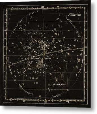 Cancer Constellations, 1829 Metal Print by Science Photo Library