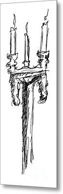 Candelabrum Sketch Metal Print