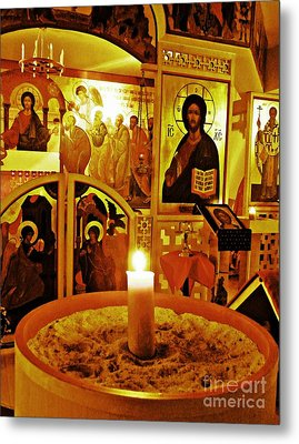Candle And Icons Metal Print by Sarah Loft