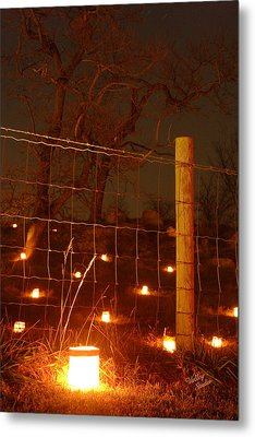Metal Print featuring the photograph Candle At Wire Fence 2 - 12 by Judi Quelland