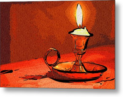 Metal Print featuring the painting Candle Lamp by Tyler Robbins
