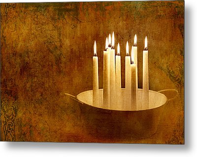 Candle Light Metal Print by Heike Hultsch