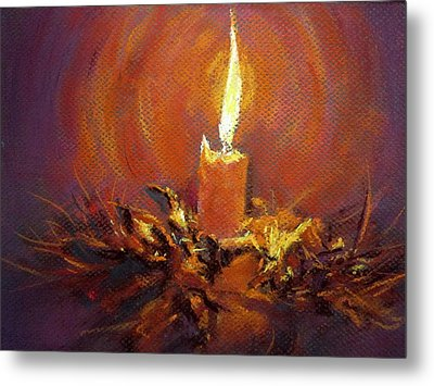 Metal Print featuring the painting Candlelight by Jieming Wang
