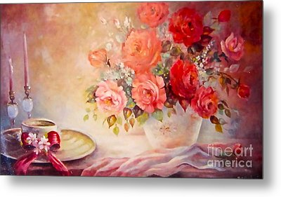 Candlelight Roses And Hat Metal Print by Patricia Schneider Mitchell