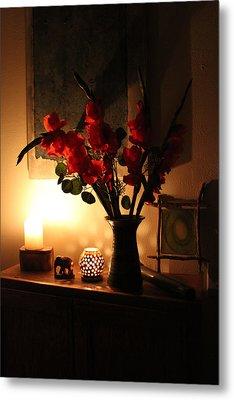 Candles And Orange Gladiolus Metal Print by Ron McMath