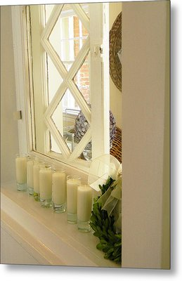 Candles And Wicker And Window Metal Print by Jean Goodwin Brooks