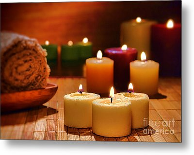 Candles Burning In A Spa  Metal Print by Olivier Le Queinec