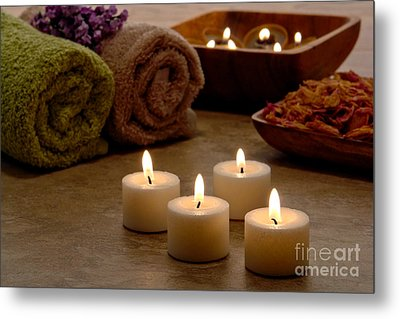 Candles In A Spa Metal Print by Olivier Le Queinec