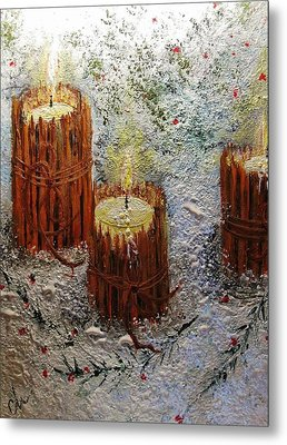 Metal Print featuring the painting Candles In The Snow.. by Cristina Mihailescu