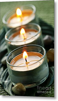Candles On Green Metal Print by Elena Elisseeva