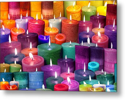 Candles Rainbow Colours Metal Print by Alixandra Mullins