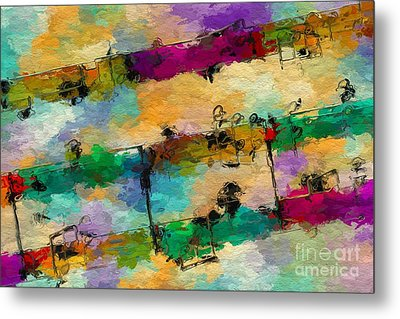 Metal Print featuring the digital art Candy-coated Chords 1 by Lon Chaffin