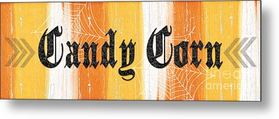 Candy Corn Sign Metal Print by Linda Woods