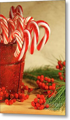 Candycanes With Berries And Pine Metal Print by Sandra Cunningham