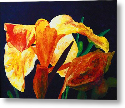 Metal Print featuring the painting Canna Glow by Margaret Saheed