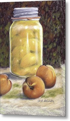 Metal Print featuring the painting Canned Peaches by Claude Schneider