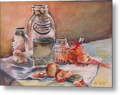 Canning Jars And Onions Metal Print by Joy Nichols