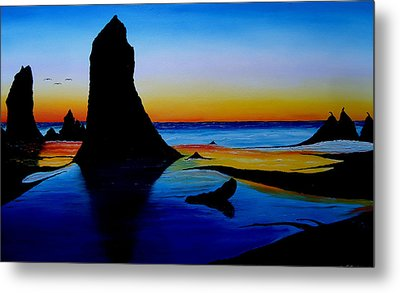 Cannon Beach At Sunset 15 Metal Print by Portland Art Creations