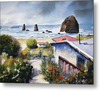 Cannon Beach Cottage Metal Print by Marti Green
