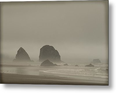 Metal Print featuring the photograph Cannon Beach In A Fog Oregon by Yulia Kazansky