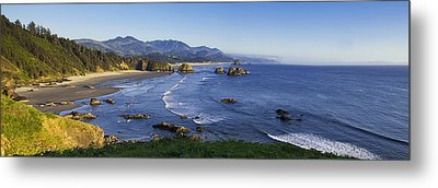 Cannon Beach Panorama Metal Print by Andrew Soundarajan