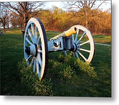 Cannon In The Grass Metal Print by Michael Porchik