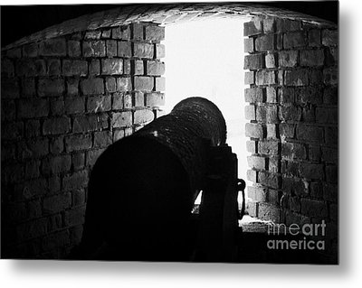 Cannon Pointing Out Of Wall Port In Fort Jefferson Dry Tortugas National Park Florida Keys Usa Metal Print by Joe Fox