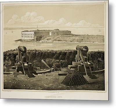 Cannons On Coastline Metal Print