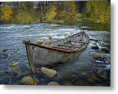 Canoe Aground On The Thornapple River In Autumn Metal Print by Randall Nyhof