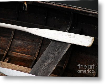 Canoe And Oar Metal Print by Mary Carol Story