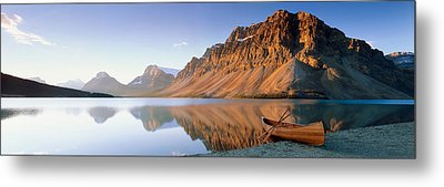 Canoe At The Lakeside, Bow Lake, Banff Metal Print by Panoramic Images