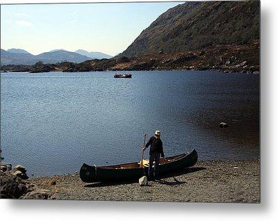 Canoe By The Lake Metal Print