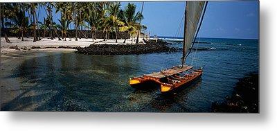 Canoe In The Sea, Honolulu,puuhonua O Metal Print by Panoramic Images