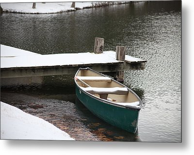 Canoe In Winter Metal Print