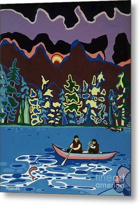 Canoe On Lightning Lake Metal Print