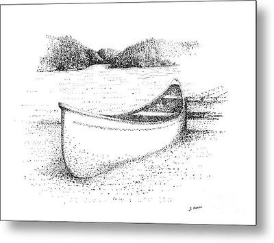 Canoe On The Beach Metal Print by Steve Knapp