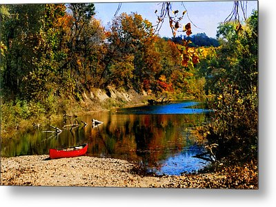 Canoe On The Gasconade River Metal Print