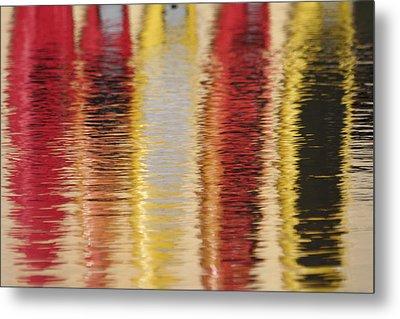 Canoe Reflections Metal Print by Carolyn Reinhart