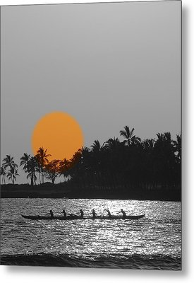 Canoe Ride In The Sunset Metal Print by Athala Carole Bruckner